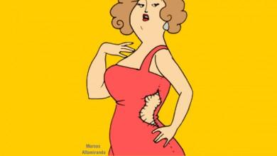 mujer vestido rojo
