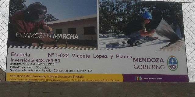 Más obras para las escuelas del Valle de Uco: se están ejecutando casi $5 millones