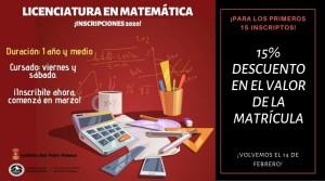 Descuento Matricula Ccias Matematicas